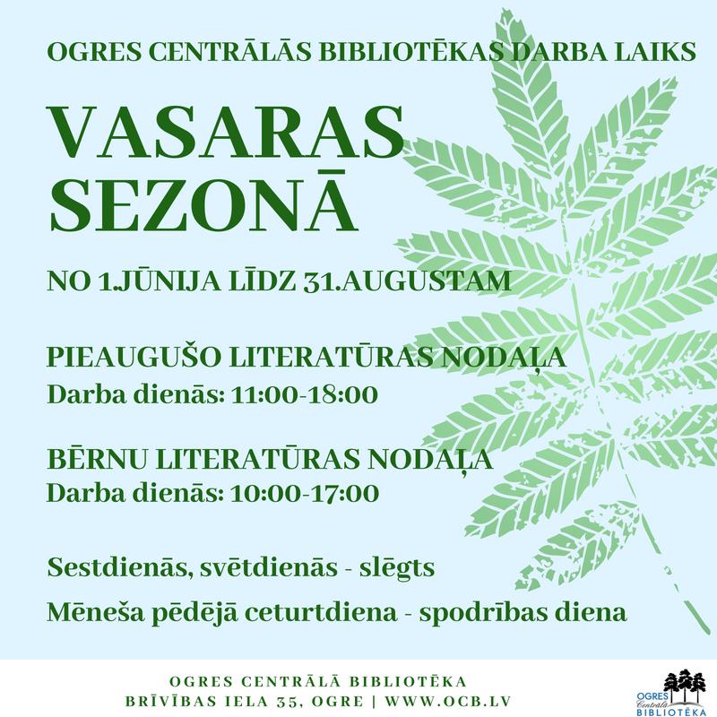 Ogres Centrālās Bibliotēkas Darba Laiks Vasaras Sezonā