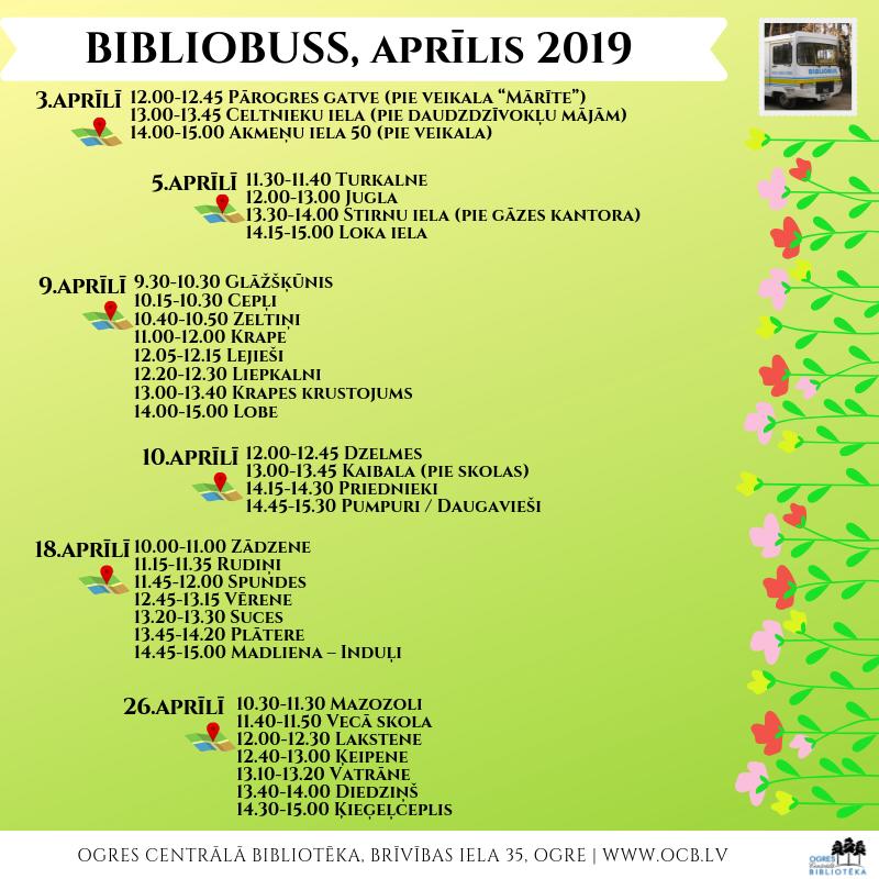 Bibliobusa Grafiks Aprīlī