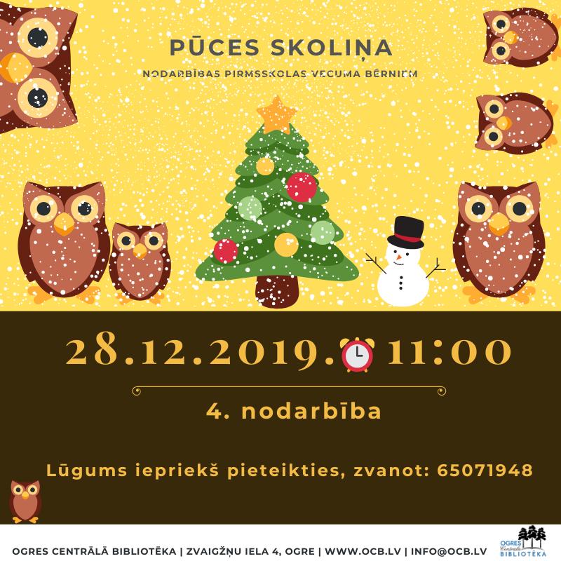 28.decembrī Plkst. 11:00 Mazos Ogrēniešus Aicinām Uz Pūces Skoliņu