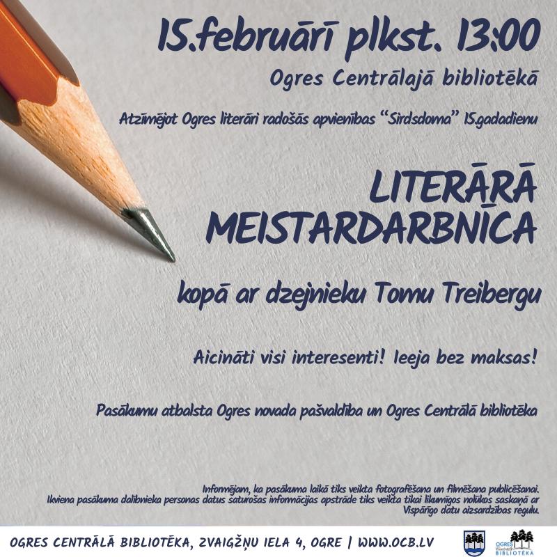 Literārā Meistardarbnīca Kopā Ar Tomu Treibergu