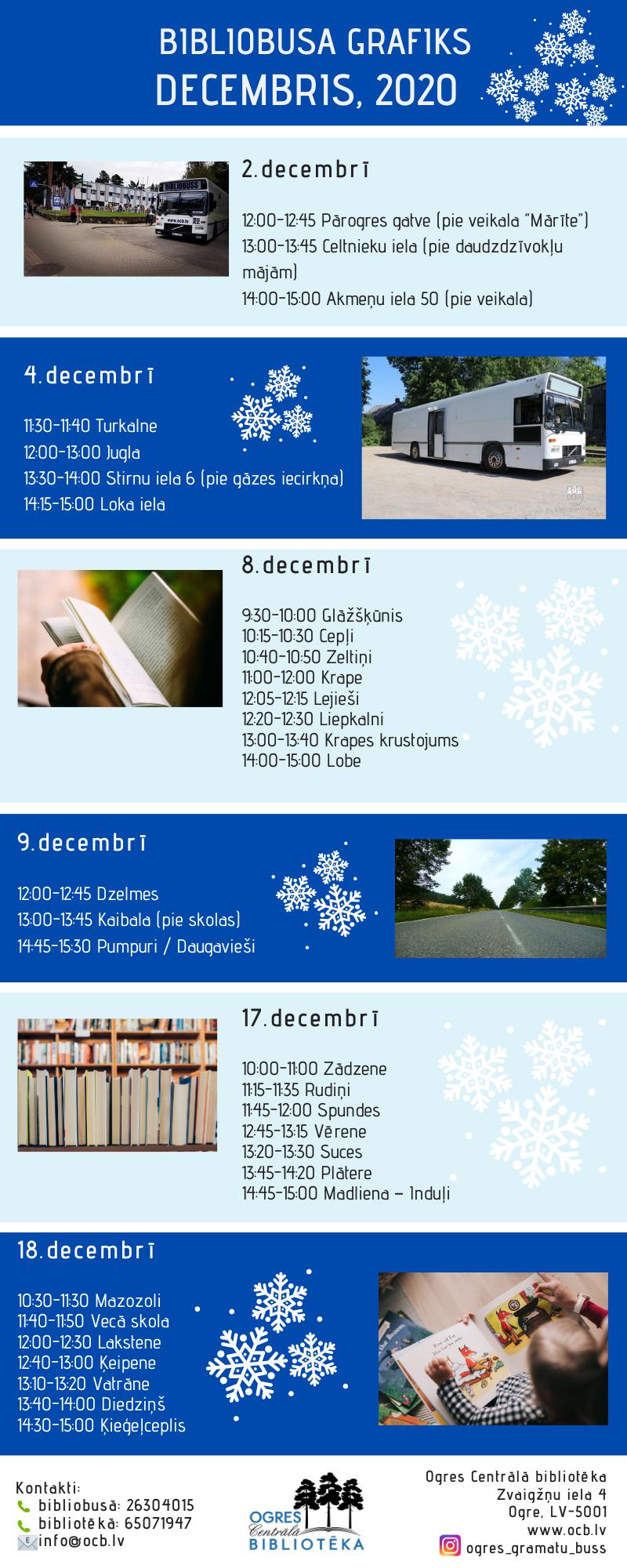 Bibliobusa Grafiks Decembrī