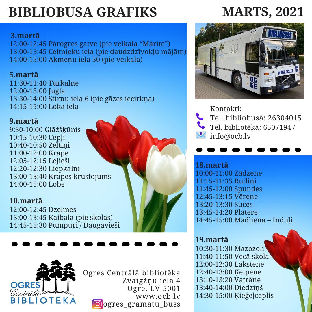 Bibliobusa Grafiks Martā